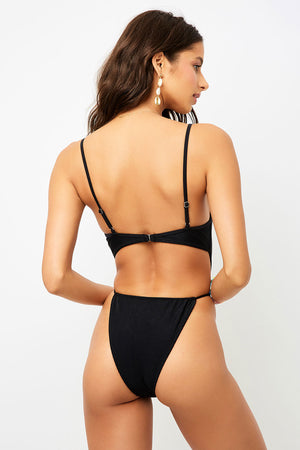 Frankies Bikinis Croft Black High Leg Tie Waist One Piece