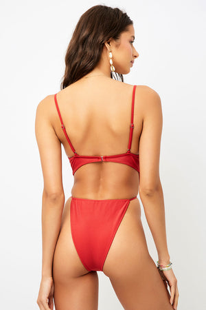 Frankies Bikinis Croft Cherry High Leg Tie Waist One Piece