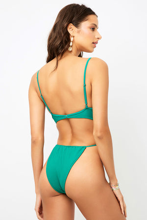 Frankies Bikinis Croft Emerald High Leg Tie Waist One Piece
