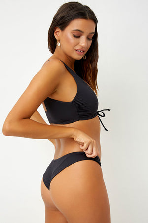 Frankies Bikinis Cruz Black Ruched Crop Top