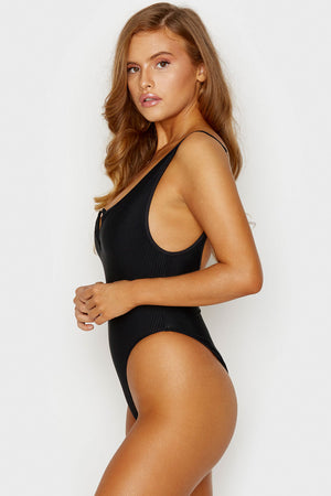 Frankies Bikinis Daphne Black Ribbed One Piece with Cheeky Coverage