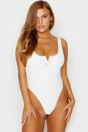 Frankies Bikinis Daphne White Ribbed One Piece with Cheeky Coverage