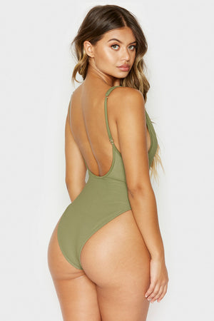 Frankies Bikinis Daphne Olive Ribbed One Piece with Cheeky Coverage
