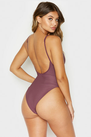 Frankies Bikinis Daphne Sangria Ribbed One Piece with Cheeky Coverage