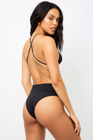 Frankies Bikinis Dreamy Black High Waist Skimpy Bottom