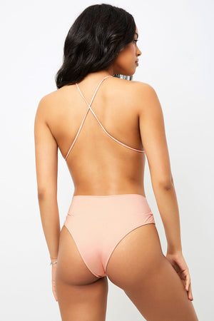 Frankies Bikinis Dreamy Peach High Waist Skimpy Bottom