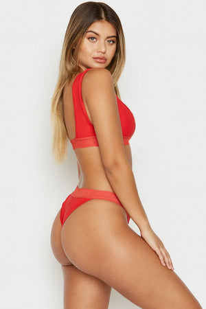 Frankies Bikinis Drew Red Ribbed Minimal Top