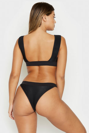 Frankies Bikinis Drew Black High Cut Cheeky Ribbed Bottoms