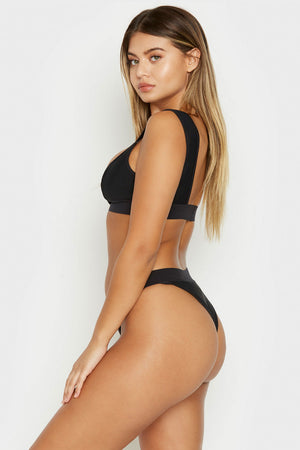 Frankies Bikinis Drew Black Ribbed Minimal Top