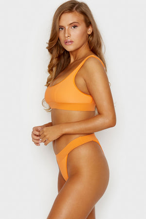 Frankies Bikinis Drew Citrus High Cut Cheeky Ribbed Bottoms