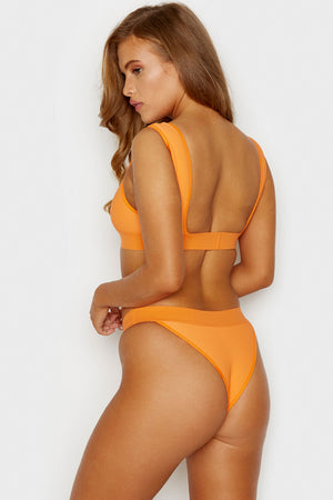 Frankies Bikinis Drew Citrus Ribbed Minimal Top