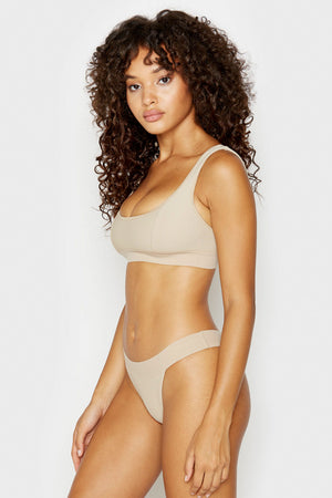 Frankies Bikinis Drew Latte High Cut Cheeky Ribbed Bottoms