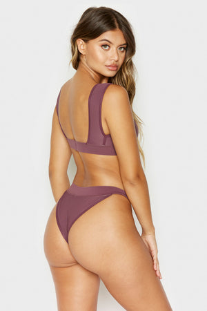 Frankies Bikinis Drew Sangria Ribbed High Cut Bottom with Cheeky Coverage