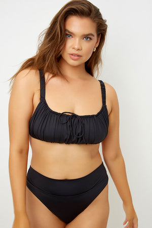 Frankies Bikinis Dylan Black High Waisted Classic Bottom Extended Sizing