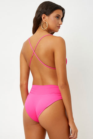 Frankies Bikinis Dylan High Waist Bottom Fuchsia