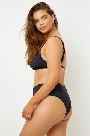 Frankies Bikinis Dylan Black High Waisted Classic Bottom