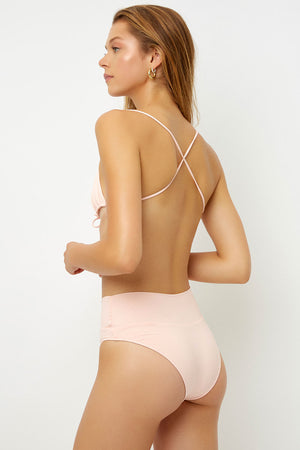Frankies Bikinis Dylan Peach High Waisted Classic Bottom