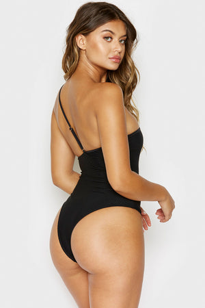 Frankies Bikinis Eliza Black High Cut Cheeky Bottom One Piece