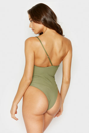 Frankies Bikinis Eliza Olive High Cut Cheeky Bottom One Piece