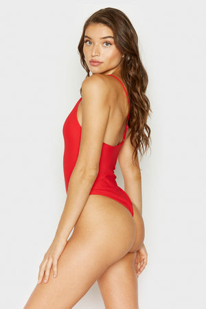 Frankies Bikinis Eliza Red High Cut Cheeky Bottom One Piece