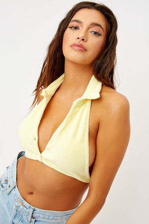 Frankies Bikinis Eloise Buttercup Button Up Crop Terry Top