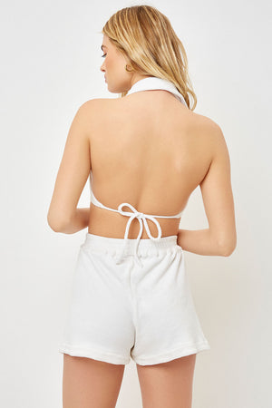 Frankies Bikinis Eloise White Button Up Crop Terry Top