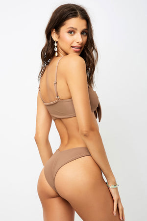 Frankies Bikinis Enzo Brownie V-Shape Cheeky Ribbed Bottom