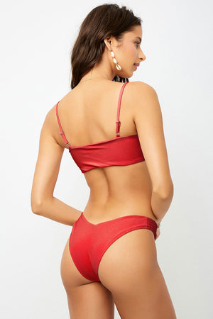 Frankies Bikinis Enzo Cherry V-Shape Cheeky Ribbed Bottom