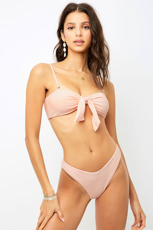 Frankies Bikinis Enzo Peach V-Shape Cheeky Ribbed Bottom