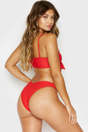 Frankies Bikinis Enzo Red V-Shape Cheeky Ribbed Bottom