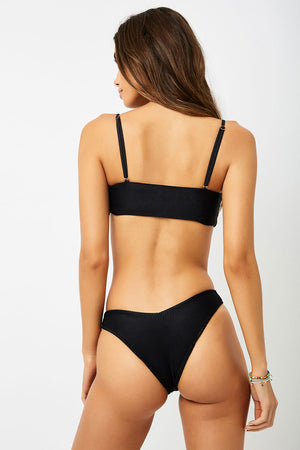 Frankies Bikinis Enzo Black Front Knot Ribbed Top