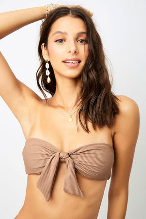 Frankies Bikinis Enzo Brownie Bandeau Ribbed Top