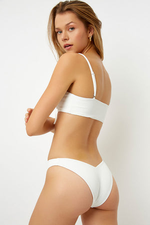 Frankies Bikinis White Enzo Front Knot Ribbed Top