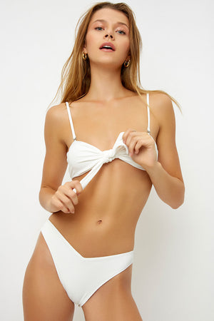 Frankies Bikinis White Latte Front Knot Ribbed Top