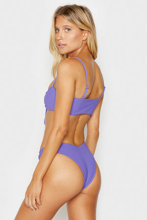 Frankies Bikinis Enzo Amethyst Front Knot Ribbed Top