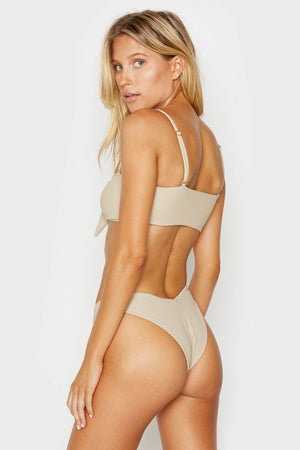 Frankies Bikinis Enzo Latte Front Knot Ribbed Top