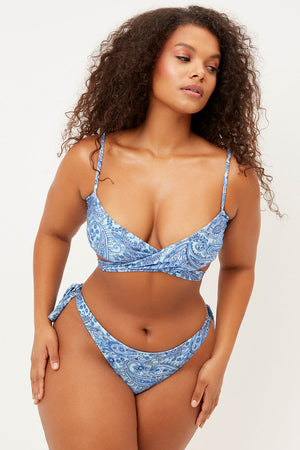 Falcon Blue Paisley Shine String Cheeky Bottom