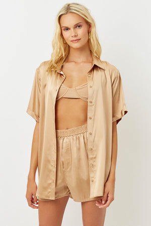 fifi silk earth button up shirt