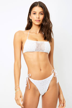 Frankies Bikinis Fiona White Crochet Cheeky Bottom