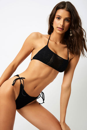 Frankies Bikinis Fiona Black Crochet Halter Top