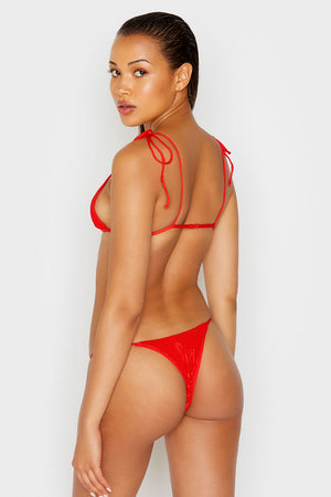 Frankies Bikini Firefly Red Scrunch Top with Shoulder Ties