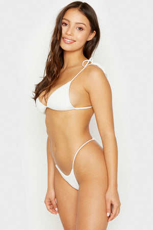 Frankies Bikinis White Firefly Top with Tie Straps