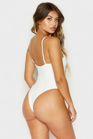 Frankies Bikinis Flash White Ribbed Skimpy One Piece with Zipper