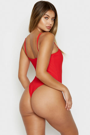 Frankies Bikinis Flash Red Ribbed Skimpy One Piece with Zipper