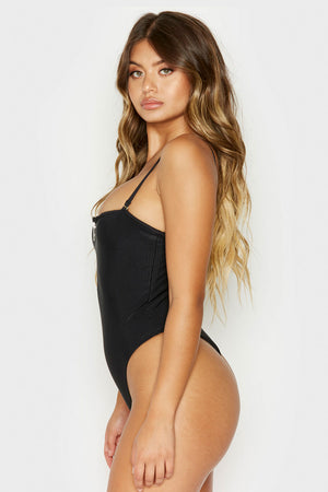 Frankies Bikinis Flash Black Ribbed Skimpy One Piece with Zipper