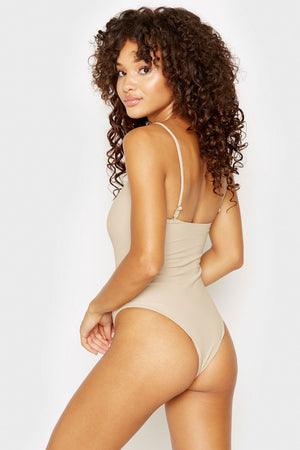 Frankies Bikinis Flash Latte Ribbed Skimpy One Piece with Zipper