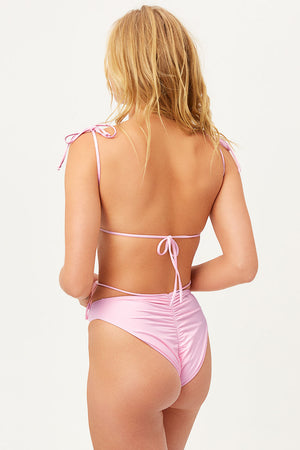 Foxy Love Pink Tie Front Ruched Cheeky Bottom