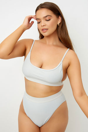 Frankies Bikinis Gabrielle Gray High Waisted Ribbed Bottom