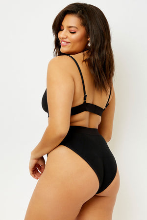 Frankies Bikinis Gabrielle Black High Waisted Ribbed Bottom extended sizing