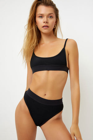 Frankies Bikinis Gabrielle Black High Waisted Ribbed Bottom